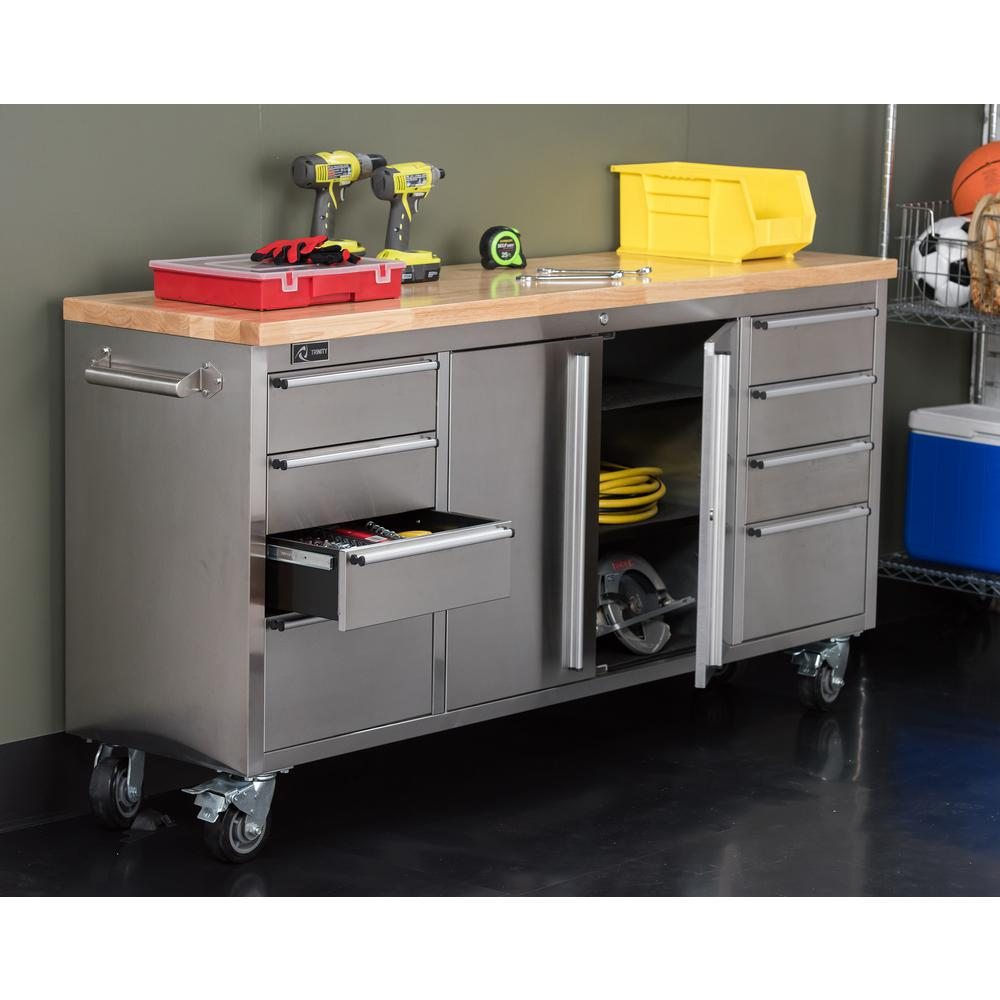 Trinity 6 Ft 8 Drawer Stainless Steel Corner Rolling Mobile Workbench With Storage Tls 7204 Workbench With Storage Rolling Workbench Steel Workbench