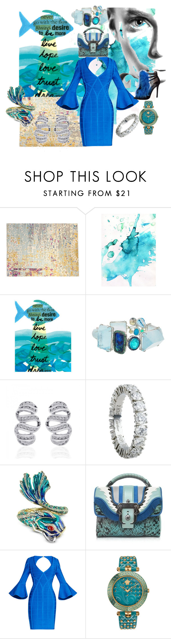 """Ebb and Flow"" by successisbella ❤ liked on Polyvore featuring F.J. Kashanian, Sharon Khazzam, Cartier, Roberto Cavalli, Paula Cademartori, Hervé Léger, Alberto Guardiani and Versace"