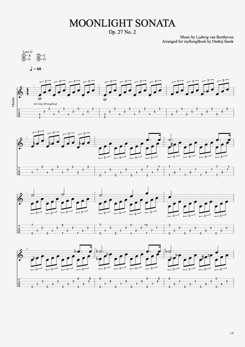 Moonlight Sonata By Ludwig Von Beethoven Solo Ukulele Guitar Pro
