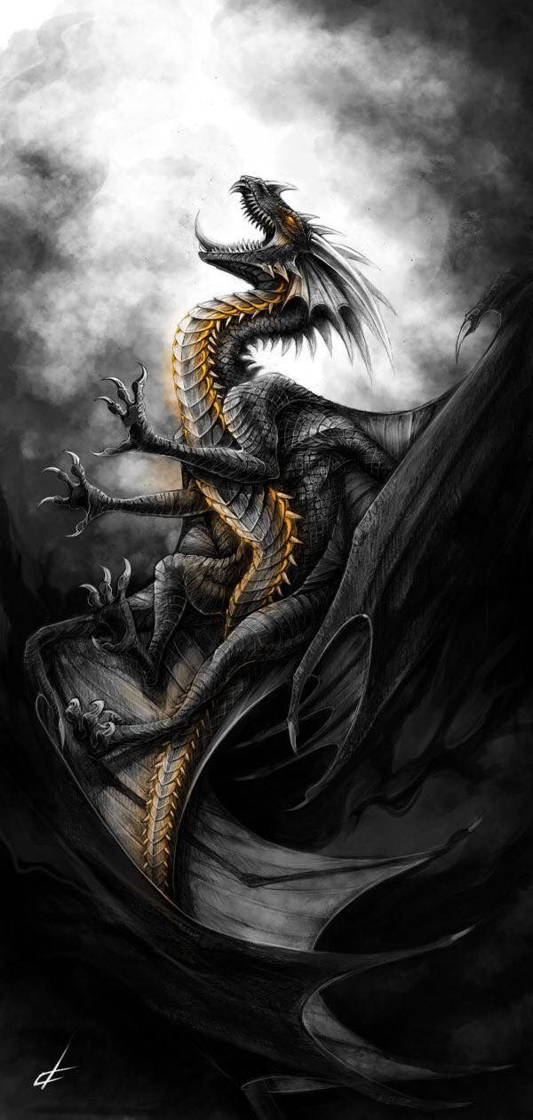 Black Dragon Fantasy Art Dragonartwork Dragon Artwork Fantasy