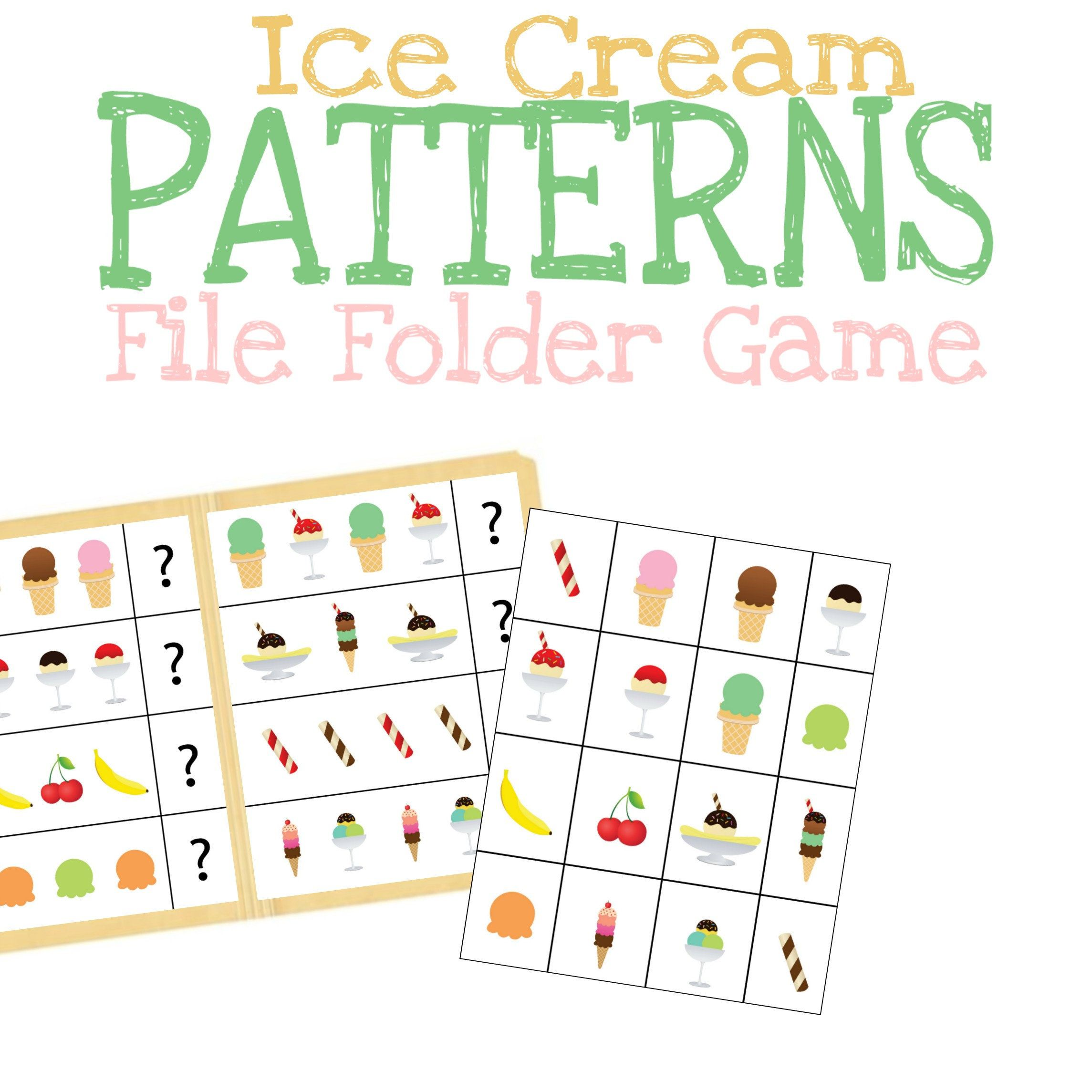 Patterns File Folder Game Printable Learning Worksheet
