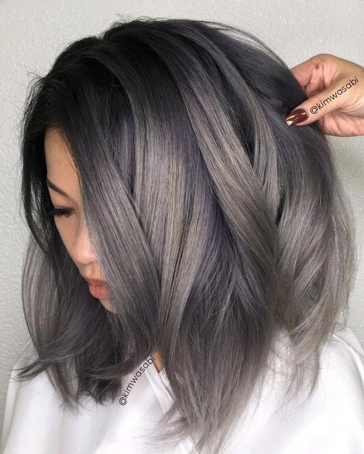 75 Grey Balayage Short Hair Picture Darkshorthair In 2020 Grey Hair Color Charcoal Hair Short Hair Balayage