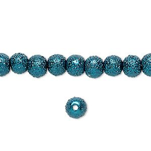 Bead, Celestial Crystal® and MoonScape™, glass pearl, teal, 6mm textured round. Sold per pkg of (2) 16-inch strands.