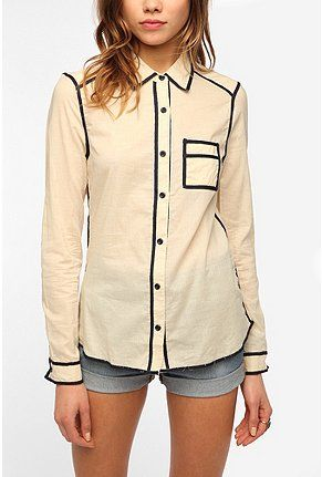 Pretty Penny Muse Piped Button-Down Shirt