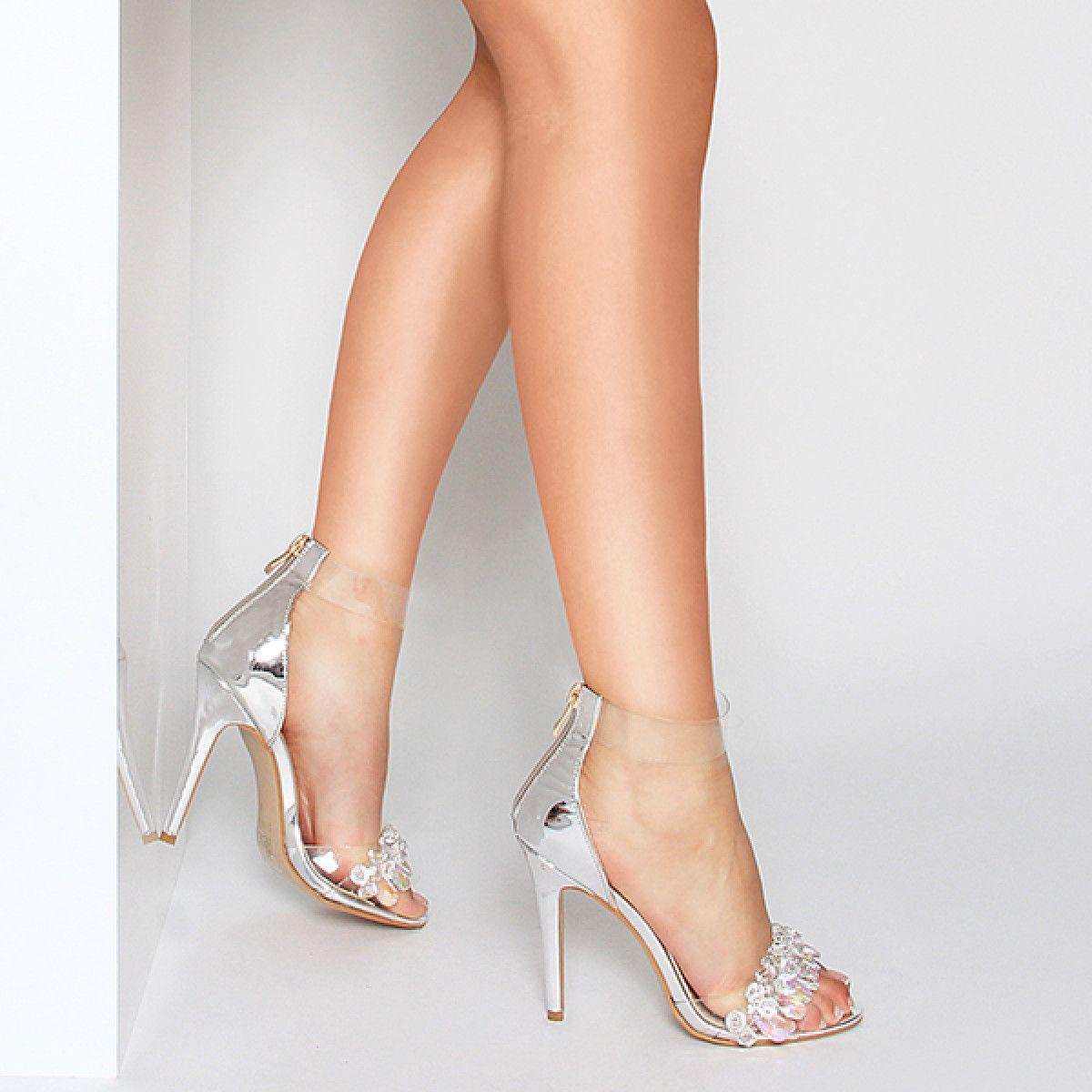 d0e6379cc1 Brielle Silver Gem Clear Heels : Simmi Shoes