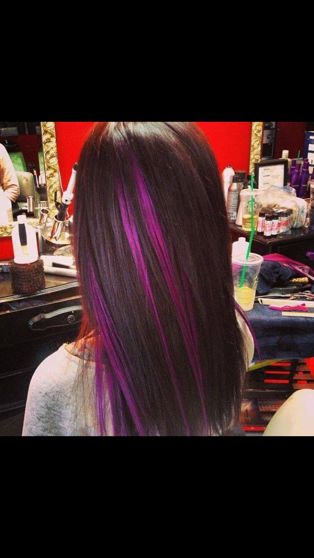 Black Hair Purple Highlights I Would Do Purple Or Blue Hairstyles