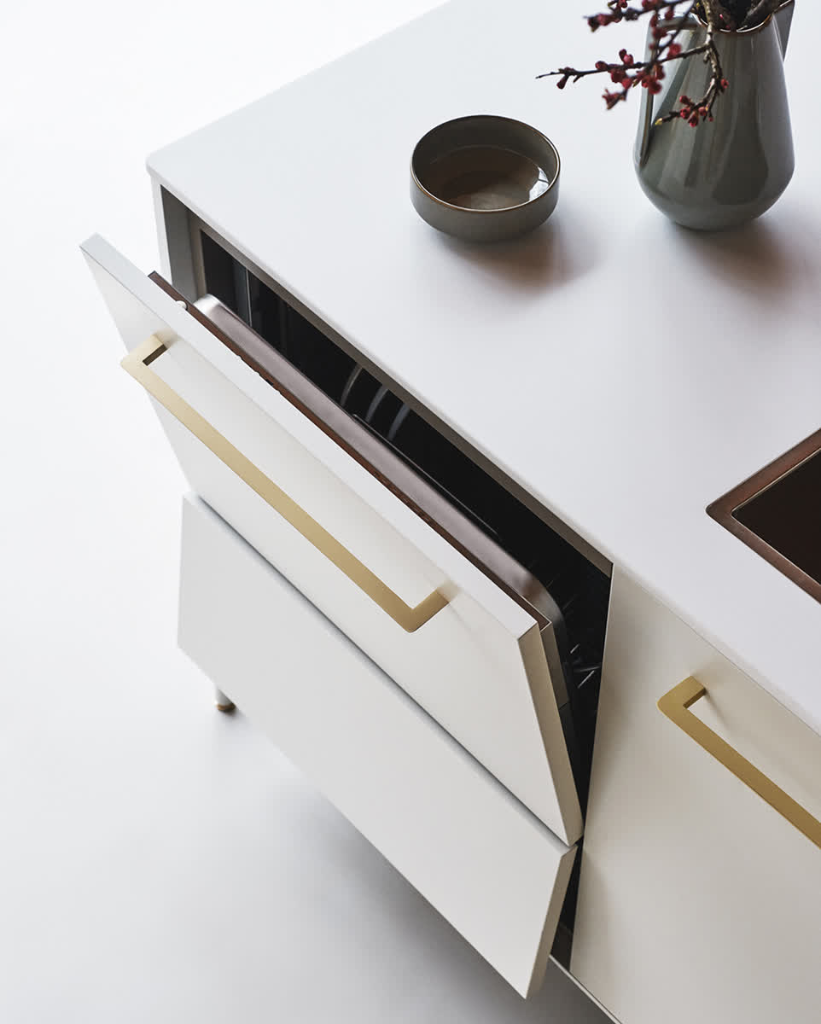 Silk-effect Bianco Lacquer doors and champagne brass eero handles ...