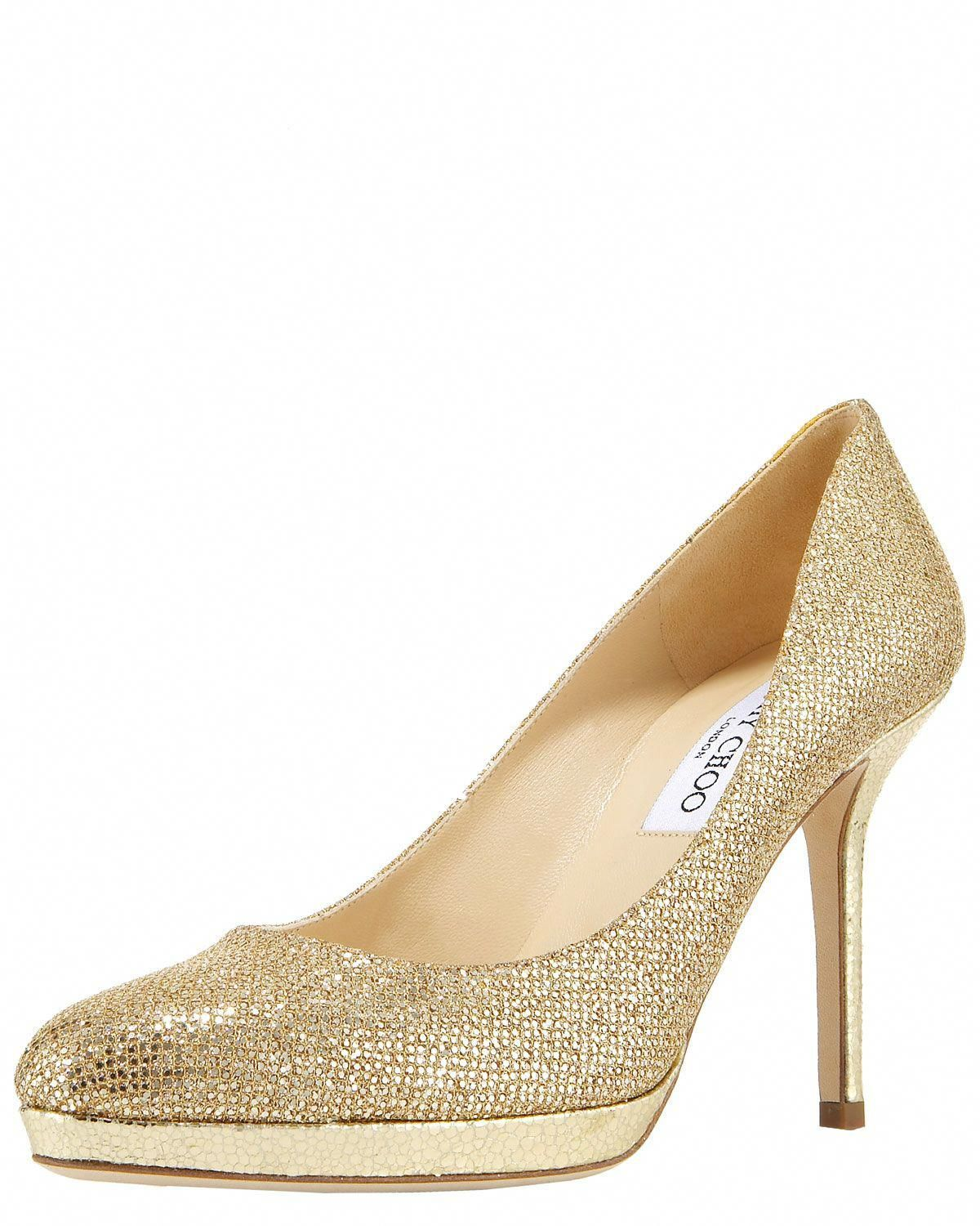 a3a33ad2565172 Jimmy Choo Glitterfabric Platform Pump in Gold