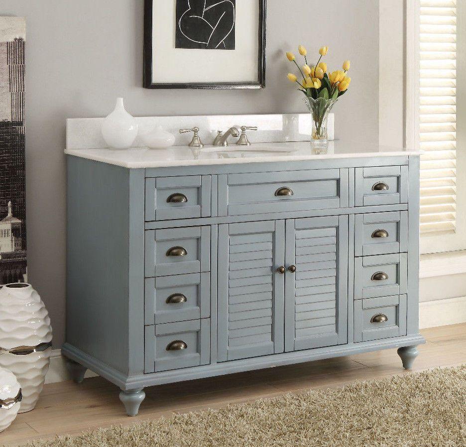 Photo Image Glennville Cottage Bathroom Vanity Cabinet Set in Light Blue GDBU BentonCollection Transitional