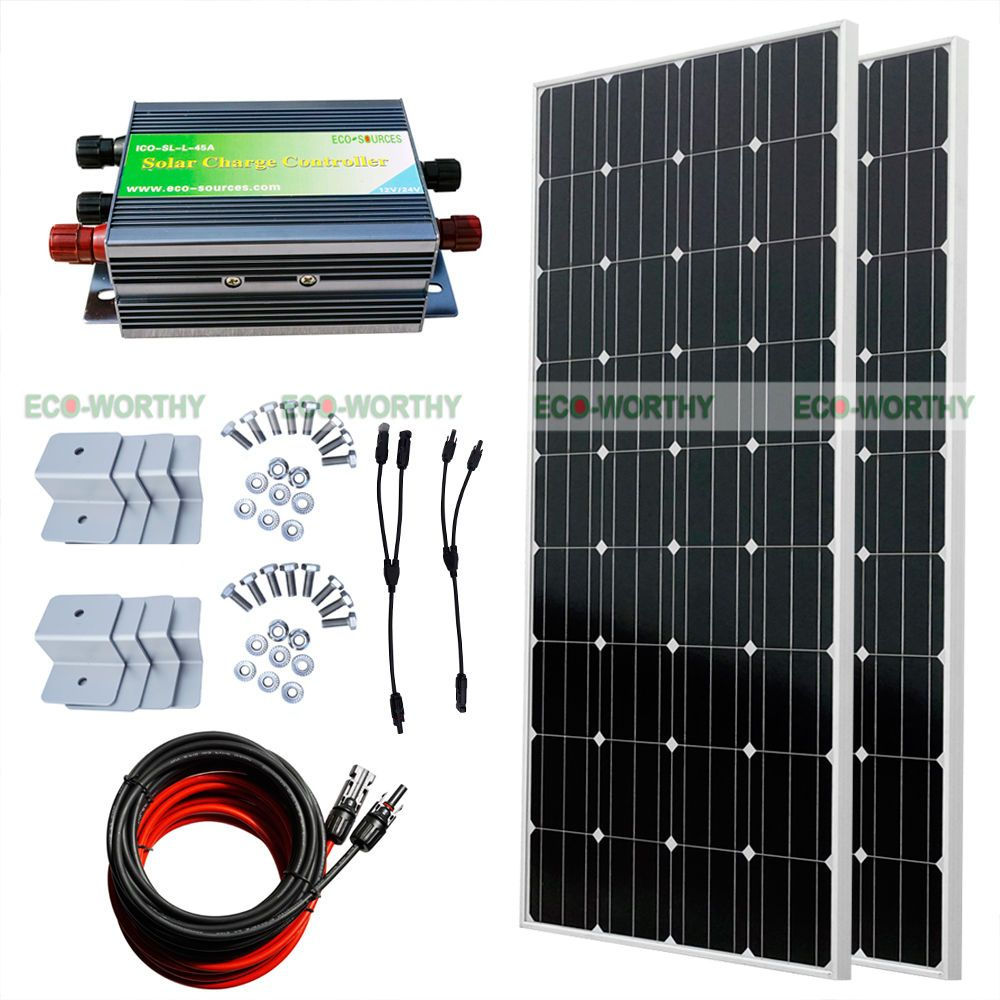 300Watt COMPLETE KIT:  2*160W Mono Solar Panel for 12V Home RV Boat Off-Grid