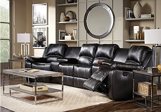 Picture Of Fenway Heights Black 5 Pc Leather Sectional From