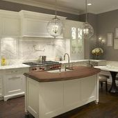 Photo of Grothouse Lumber – kitchens – gray, walls, white, frosted glass, kitchen cabinet…