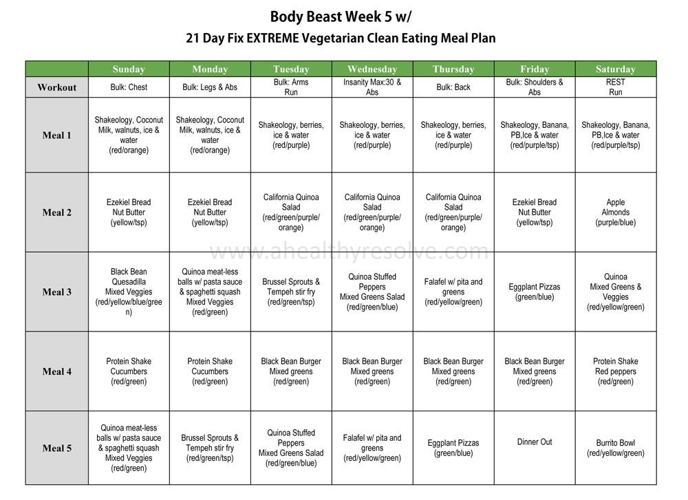 Body beast clean vegetarian eating meal plan using day fix extreme nutrition also cooper  chloe week one fitness pinterest rh