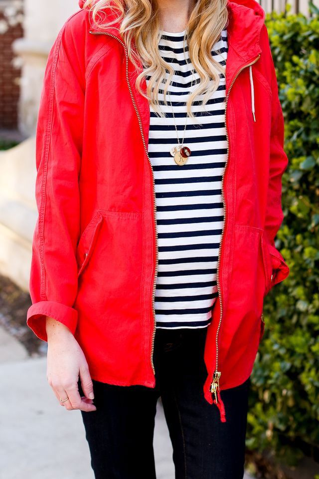 Red jacket.