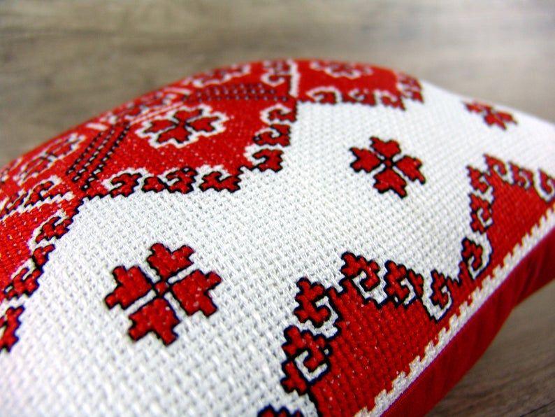 Ukrainian embroidery throw PILLOW COVER, Traditional cross stitch country throw pillowcase, Ukrainian decor red black flowers cross stitch
