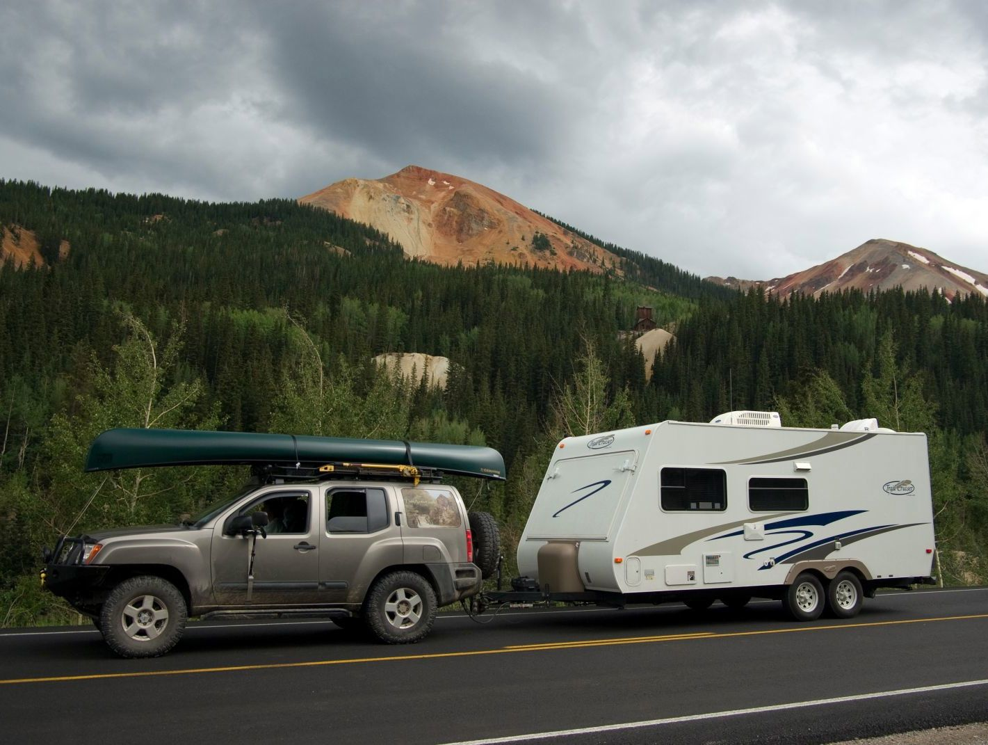 Towing a small popup trailer or a large van behind a motor