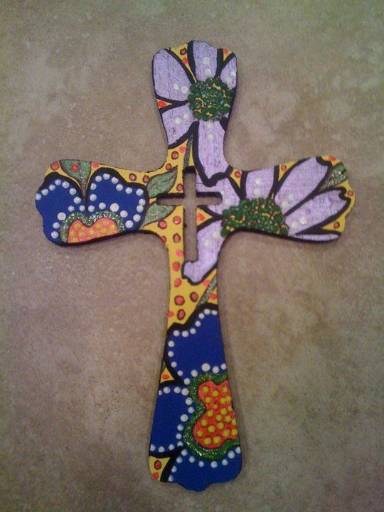 hand painted wooden cross $15 each plus shipping
