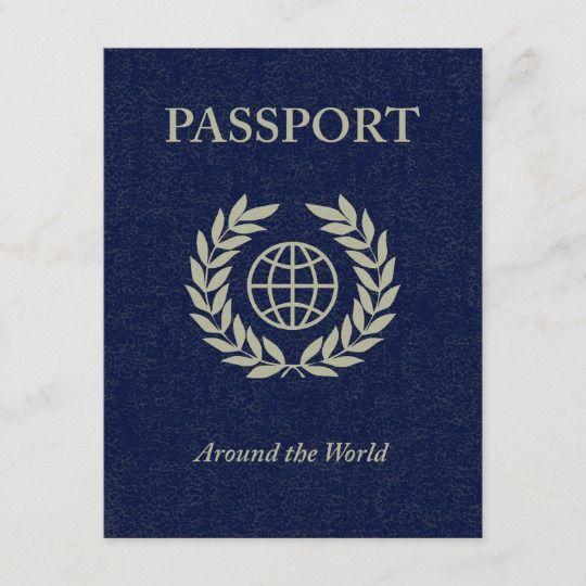 Around The World : Passport Invitation Postcard
