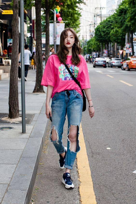 ripped jeans | Korean street fashion, Korean fashion trends