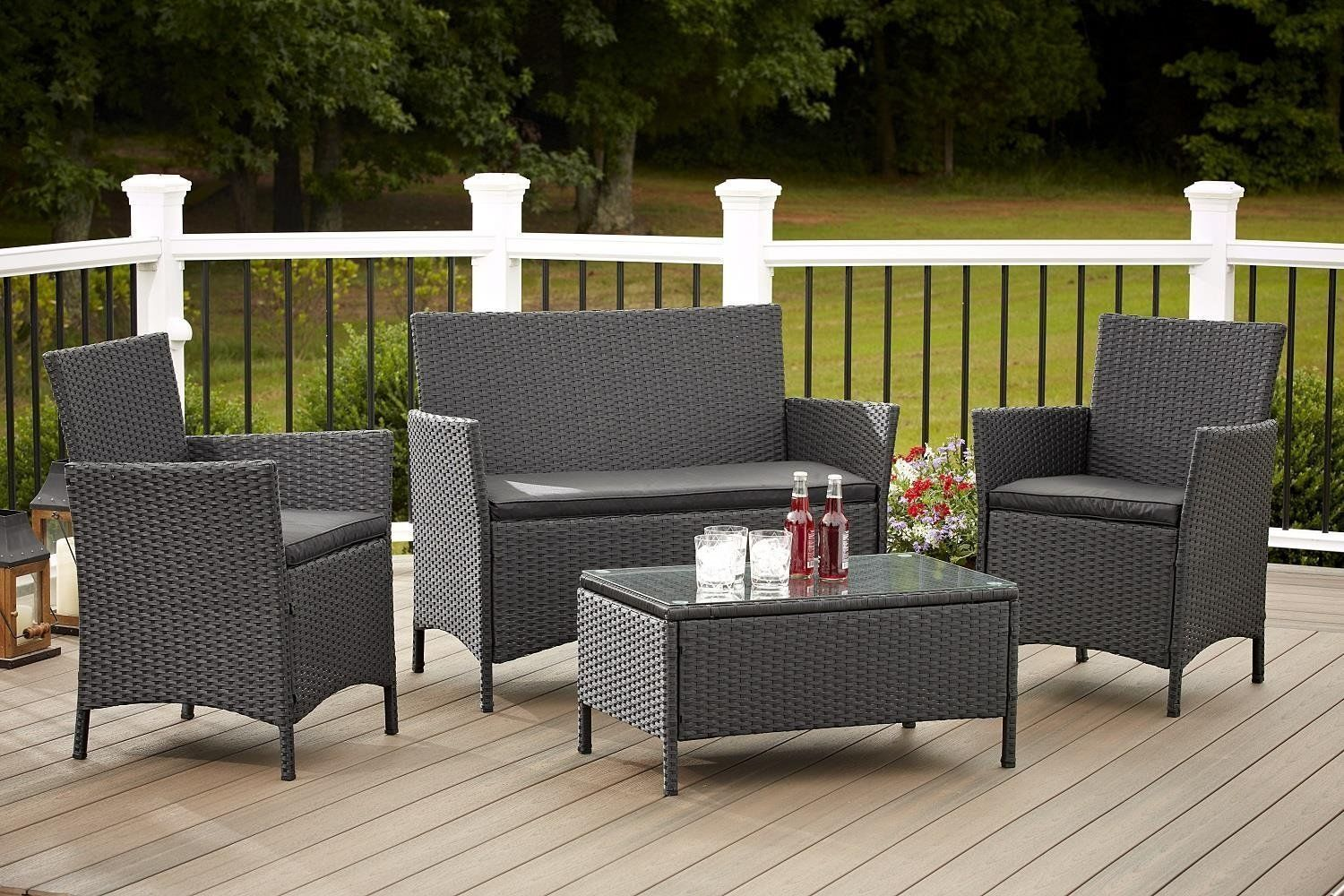Jamaica 4 Piece Patio Furniture Set In Outdoor Resin Wicker With
