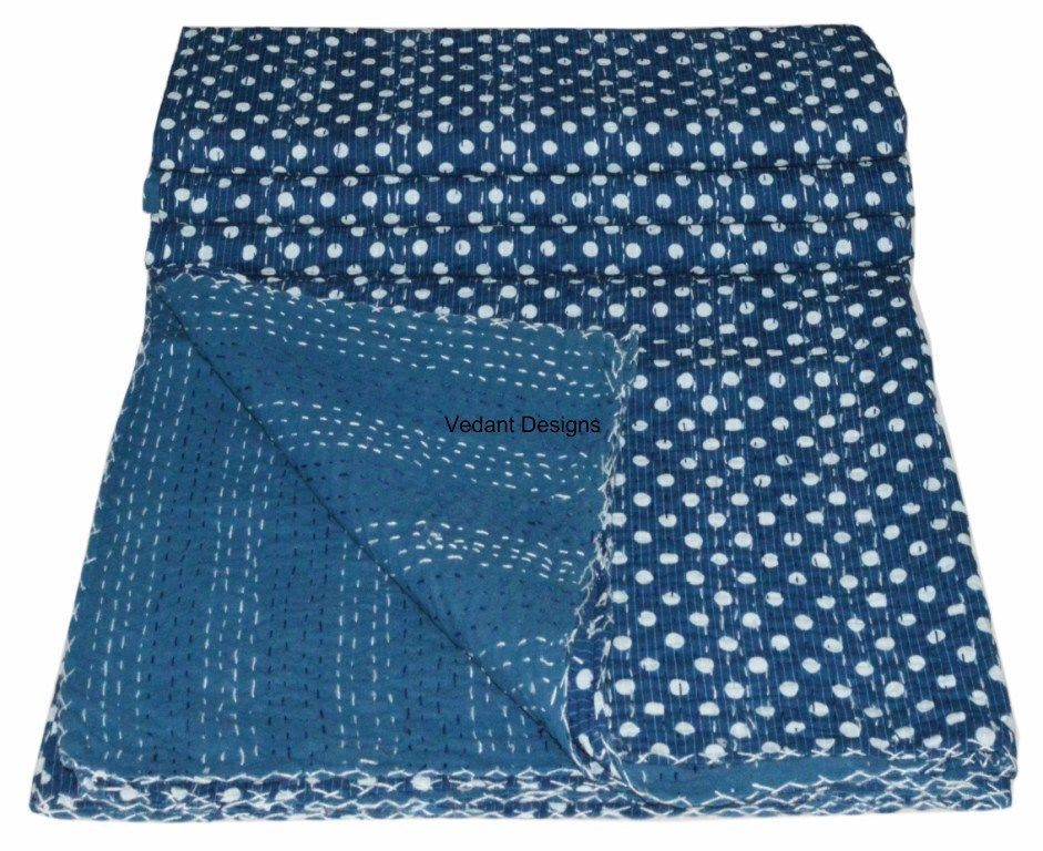 Kantha Bed cover indigo blue Kantha Quilt Hand Quilted Throw ... : quilted throw blanket - Adamdwight.com