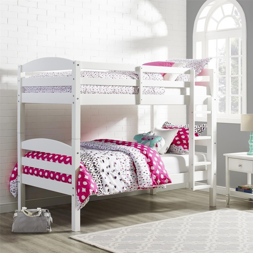 white bunk bed twin over twin size frame ladder kids teen wood