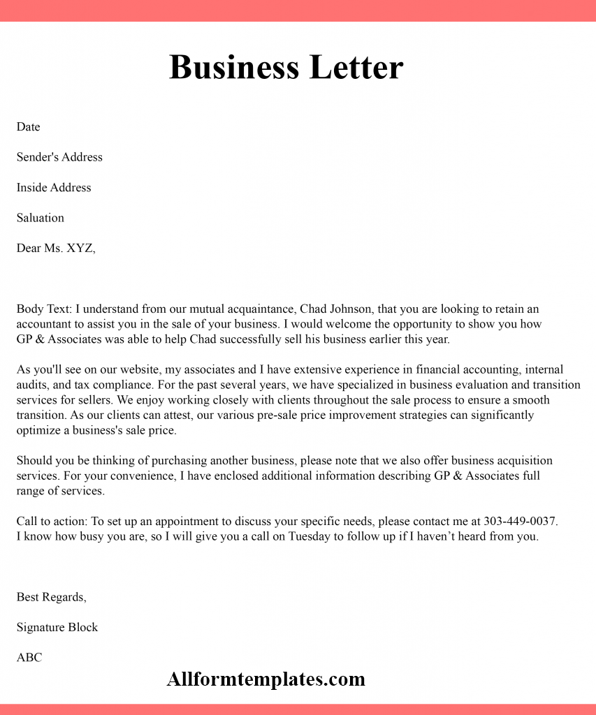 3+ Free Example of Business Letter Writing Template in