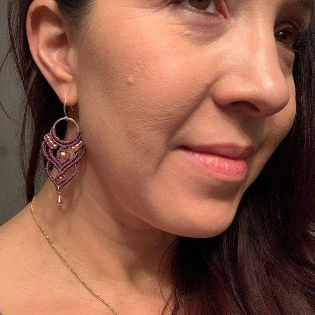 Photo of Macrame hoop earrings, rose gold statement earrings, boho wedding earrings, woven bridal earrings, women's boho jewelry, big hoop earrings