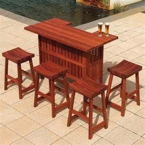 Jensen Jarrah Outdoor Patio Bar Set At Hayneedle Outdoor Bar Furniture Outdoor Patio Bar Sets Discount Patio Furniture