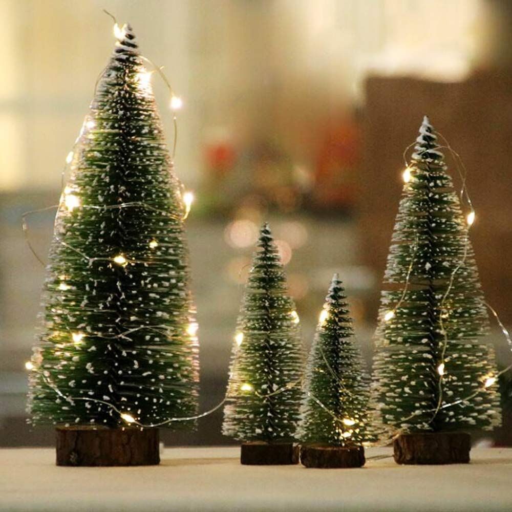 Maiyu 4 Pcs Desktop Miniature Pine Trees Tabletop Christmas Tr Mini Christmas Tree Decorations White Artificial Christmas Tree Frosted Christmas Tree