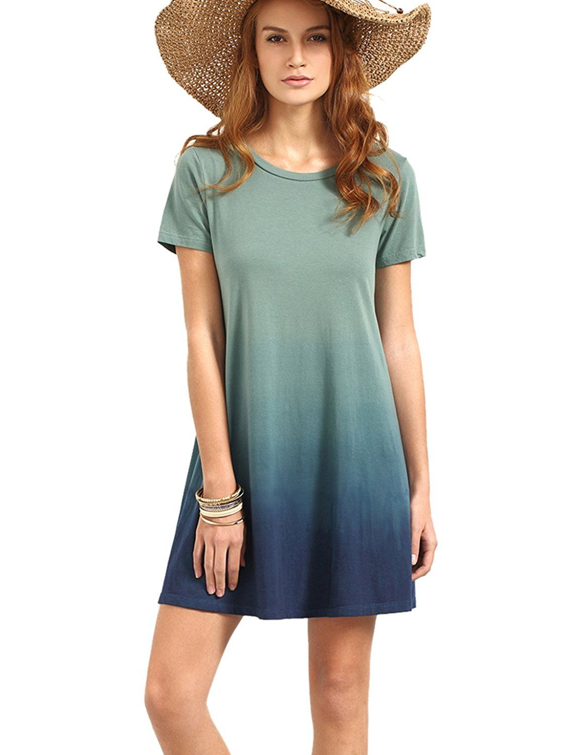 6d0ff14170284 ROMWE Women's Tunic Swing T-Shirt Dress Short Sleeve Tie Dye Ombre Dress at Amazon  Women's Clothing store: