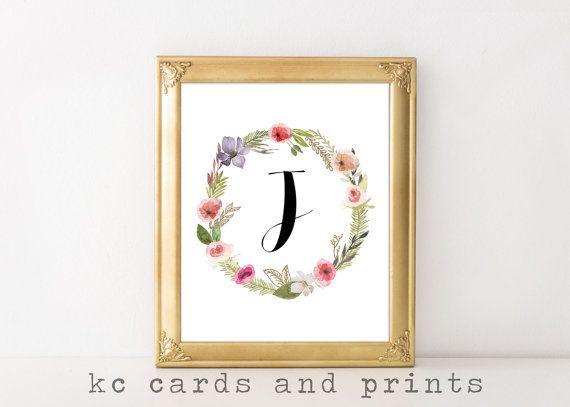 Letter J Wall Art Letter J Monogram Art Print  Initial Art Printable  Letter J