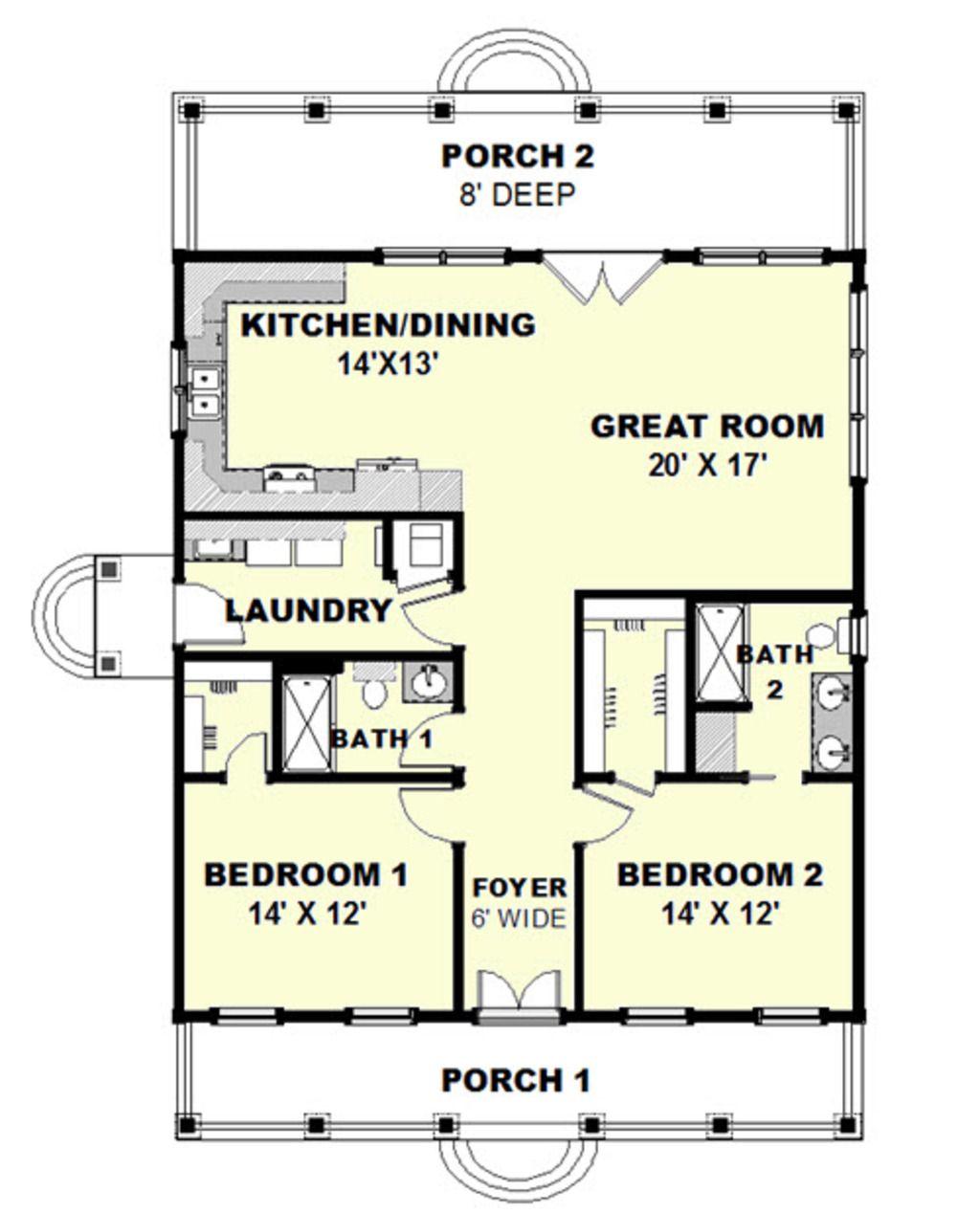 Cottage Style House Plan 2 Beds 2 Baths 1292 Sq Ft Plan 44 165 Cottage Style House Plans Country Style House Plans House Blueprints