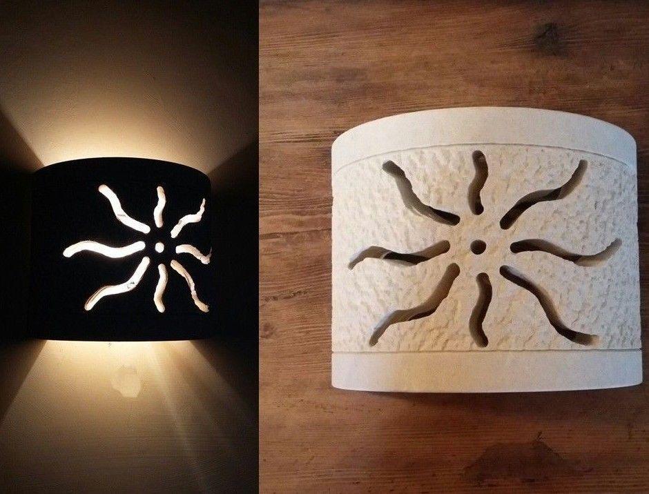 Lampada applique da parete sole artigianale in pietra leccese design