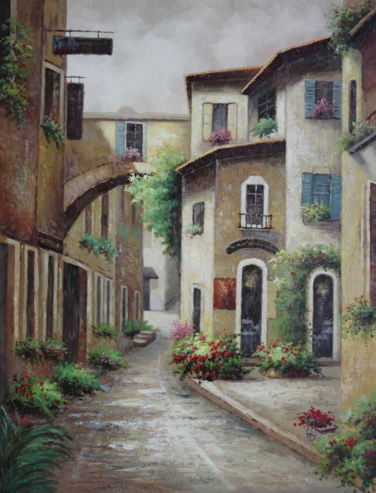 European Spain Flower Alley Oil Painting Cityscape Naturalism