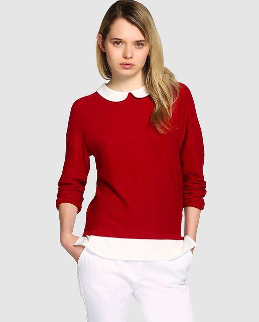 96b34e8f9 Jersey de mujer Naf Naf rojo con cuello bebé