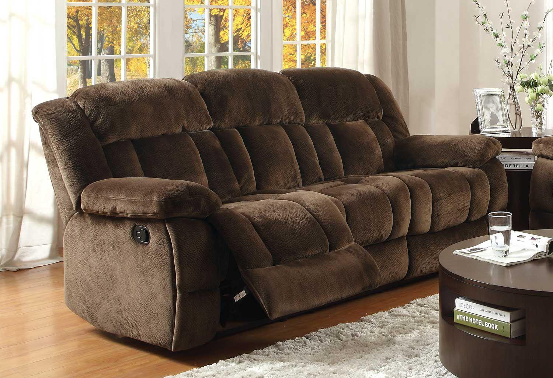 Recliner Sofa Homelegance Laurelton Double Reclining Sofa Chocolate Textured Plush Microfiber Price