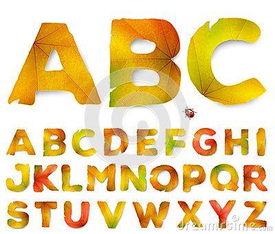Letras del alfabeto del vector hechas de las hojas de otoño ...