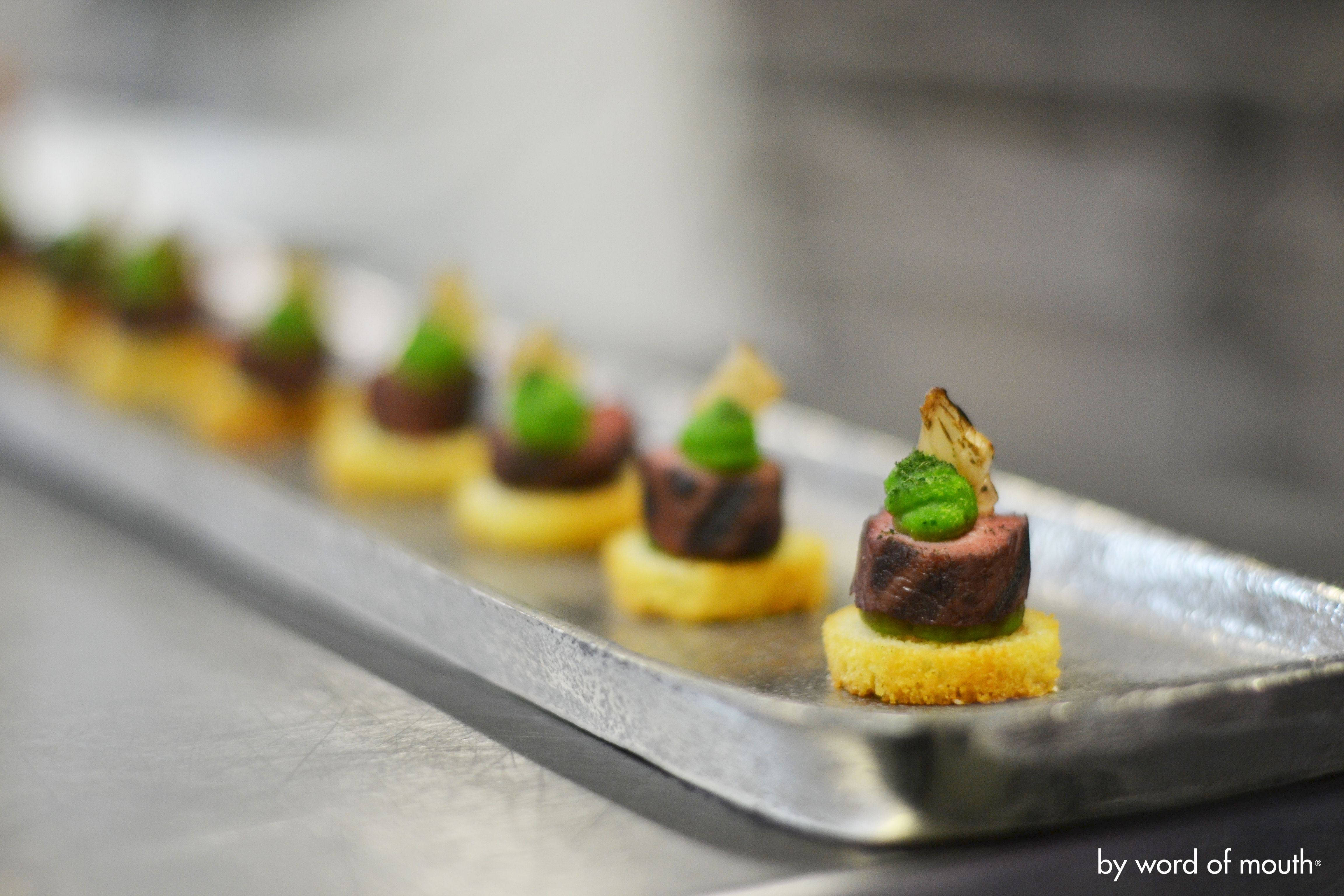 Hot canape sous vide loin of rosemary lamb with pea for Hot canape ideas
