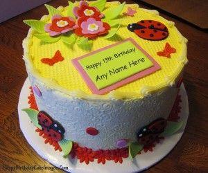 Birthday Cakes Images To Write Name ~ Write name on 19th birthday cake deepika pinterest 19th