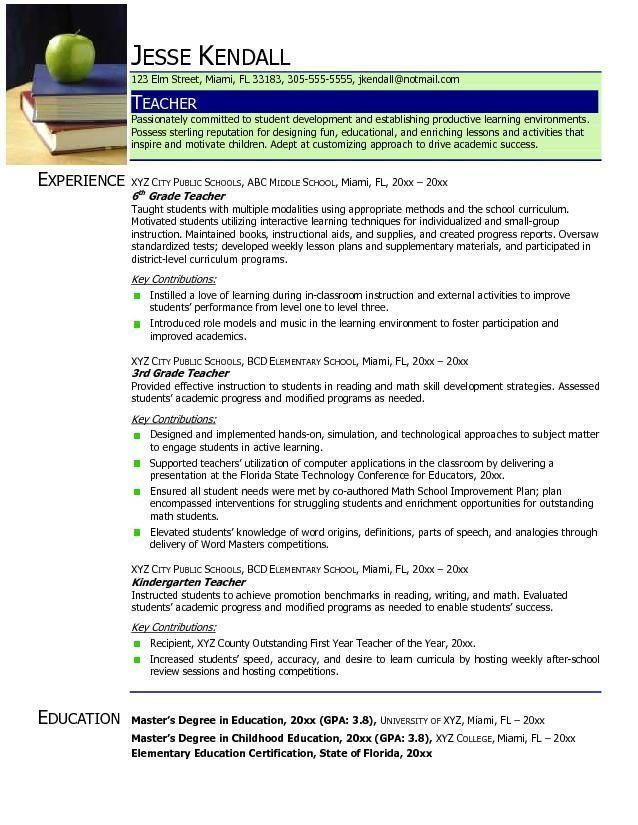 teacher resumes sample resumesample teacher resumes