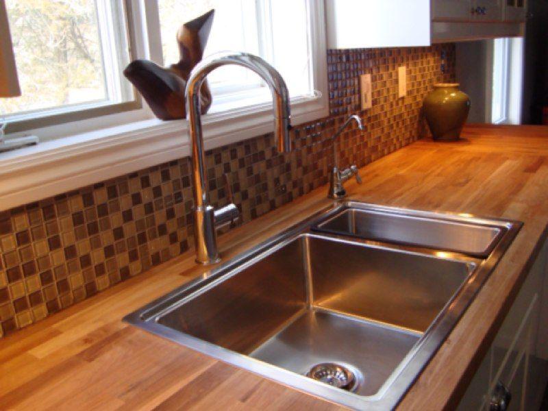 ikea butcher block countertops with faucet   The IKEA BREDSKAR Sink compliments the Kalia Faucet adding ...