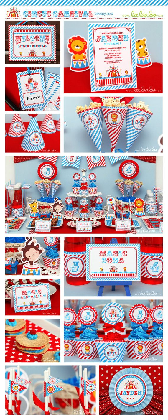 Circus Birthday Party Invitation Personalized by LeeLaaLoo on Etsy ...
