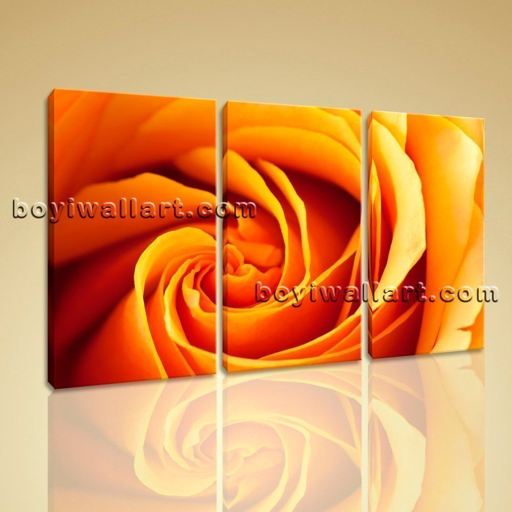 Large framed contemporary abstract rose flower floral painting print