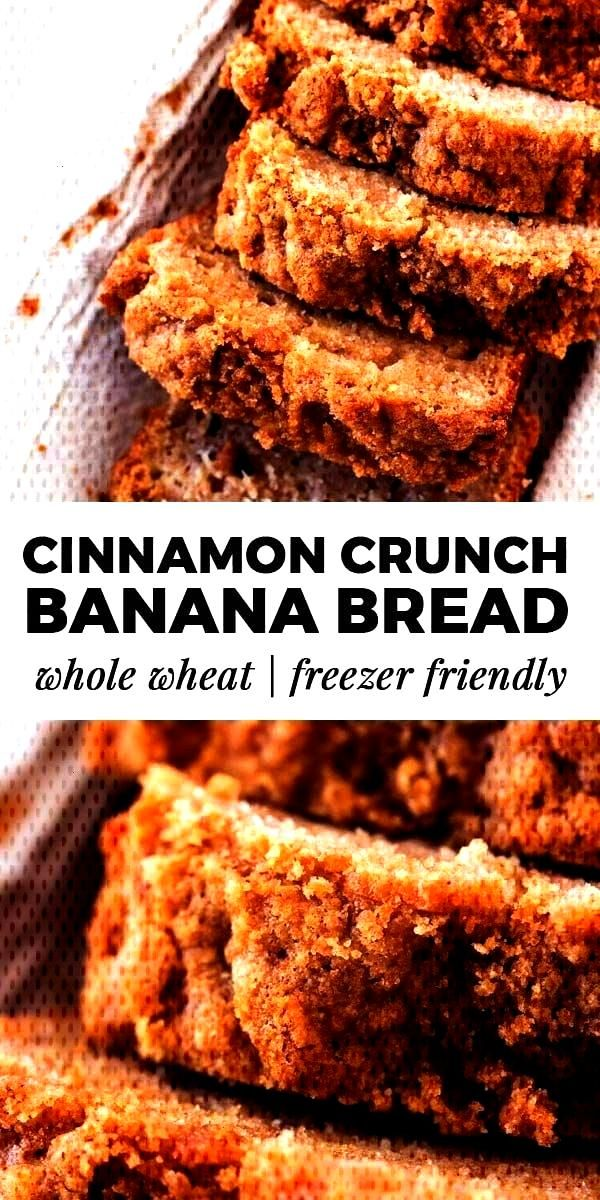 Cinnamon Crunch Banana Bread Recipe - This whole wheat cinnamon crunch banana bread is SO good! Ma