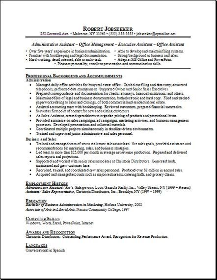 Sample Resume for Secretary Receptionist images Free resume - secretarial resume template