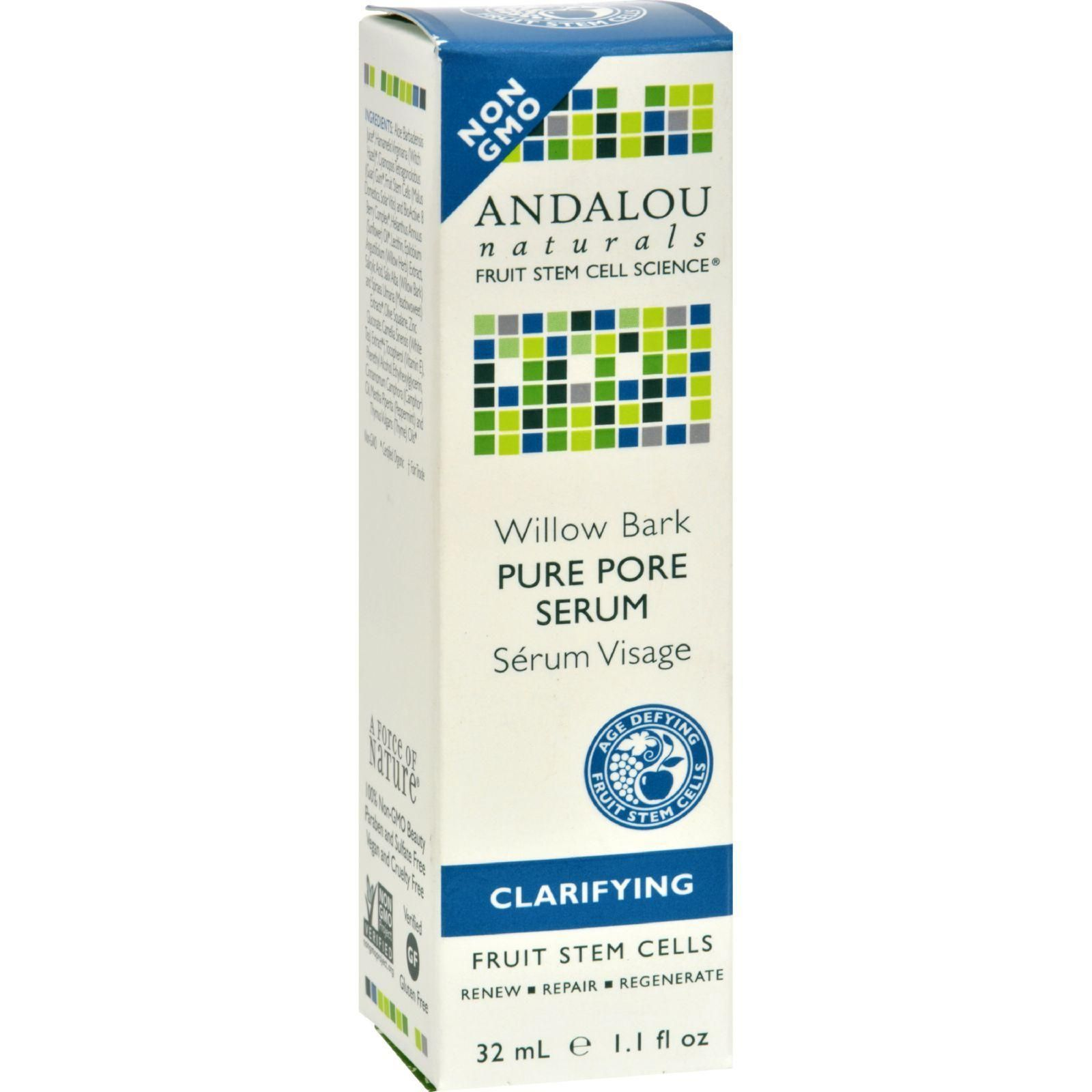 Andalou Naturals Clarifying Willow Bark Pure Pore Serum -- 1.1 fl oz Valmont - Elixir Des Glaciers Serum Precieux Votre Visage - Swiss Poly-Active Essence (New Packing) -30ml/1oz