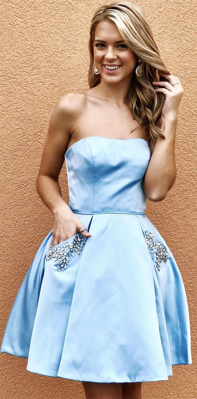 Strapless dark red short homecoming dress with pockets prom