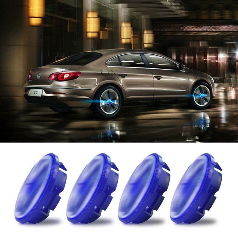 4X Car Suv Cover Hood LED Blue Light Tire Emblem Wheel