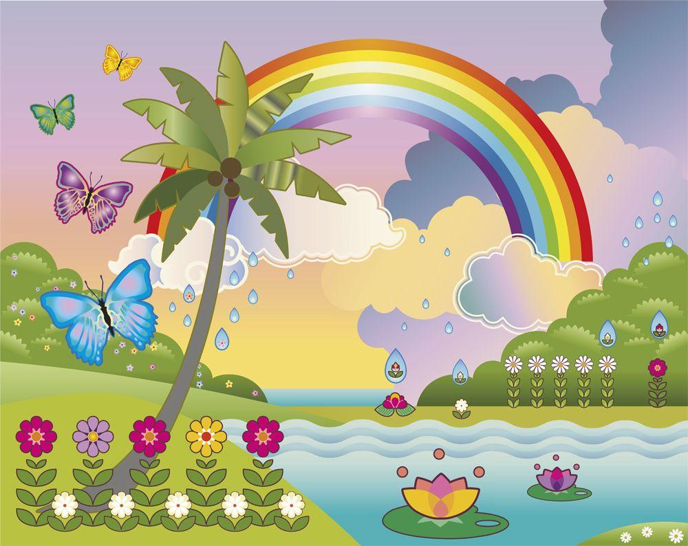 Rainbow, Butterflies And Flowers Children\'s Wall Mural | Eimear\'s ...
